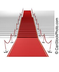 3d stair - 3d rendered illustration of a red carpet on white...