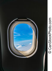 Plane window with cloud view . - Plane window with cloud...