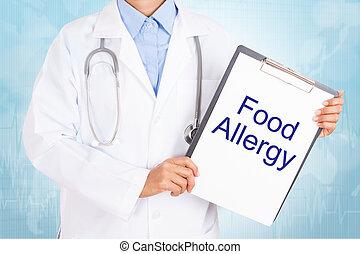 folha, segurando, doutor, alimento, texto, papel, alergia,...