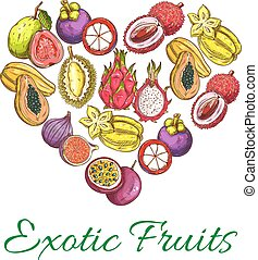 Exotic fresh fruits vector poster in heart shape - Exotic...