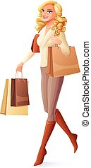 Beautiful lady walking with shopping bags and smiling. Vector illustration.