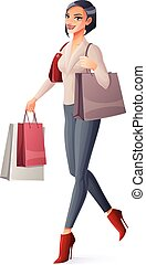 Vector beautiful brunette lady walking with shopping bags and smiling.