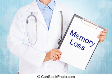 Doctor holding clipboard with memory loss text on a sheet of...