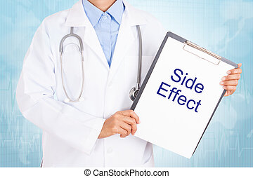 Doctor holding clipboard with side effect text on a sheet of paper on white background