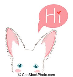White Rabbit Sneaking. Greeting Card Christmas Day. Vector Illustration.