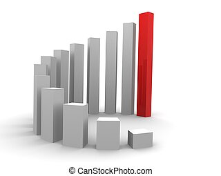 rising stats - 3d rendered illustration of a simple white...