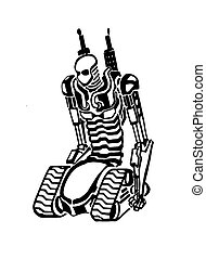 Sketch creative robot. Vector illustration of unusual and...