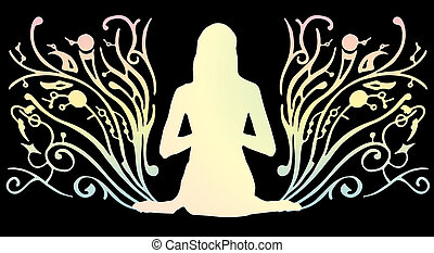 The girl meditates on a beautiful background. Vector...