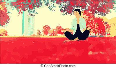 Girl meditating in Park. Vector illustration of girl in Park...