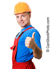 Smiley builder worker isolated