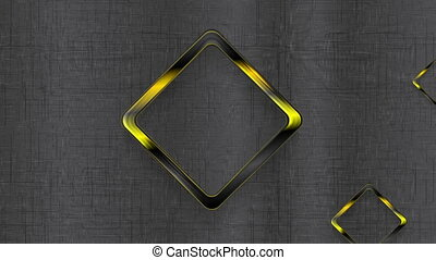 Abstract tech video clip with black yellow squares -...
