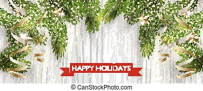 Christmas design with fir tree on wooden background. Web...