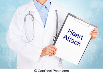 Doctor holding clipboard with heart attack text on a sheet...