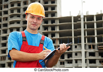 Builder satisfied inspector at construction area