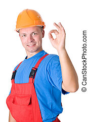 happy builder worker isolated