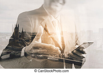 Double exposure of success businessman open his hand with...