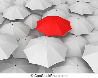 umbrellas - 3d rendered illustration of white and red...