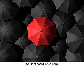 umbrellas - 3d rendered illustration of black and red...