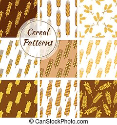 Cereal grain seamless patterns set