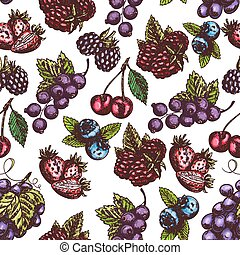 Berries fruits sketch seamless pattern