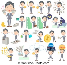 Gray Suit Businessman money - Set of various poses of Gray...