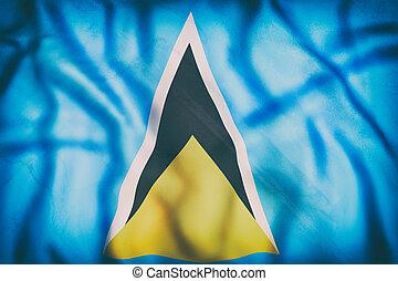 Saint Lucia flag waving