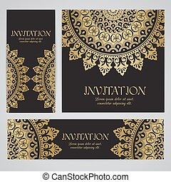 Vector banners with mandala in black, gold colors. Based on...