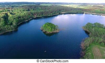 aerial view of beautiful lake