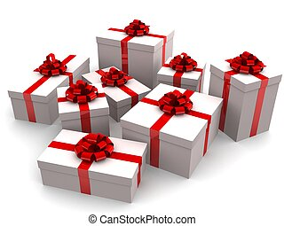 christmas gifts - 3d rendered illustration of many white...