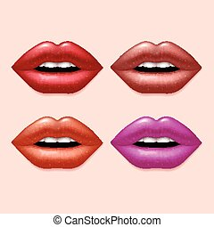 Girl lips with varicolored lipstick vector set
