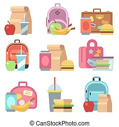 School lunch food boxes and kids bags vector flat icons....