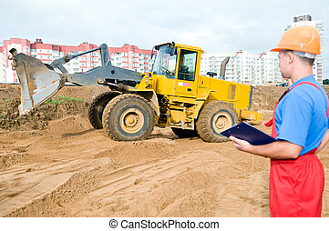 Builder inspector at construction area