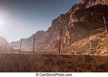 Barbed wire fence in desert