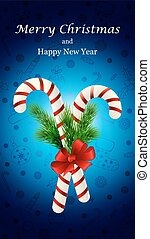 Christmas candy cane decorated with a bow and tree branches
