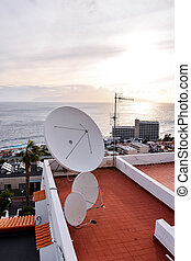 satellite dish on the roof - Photo view close up of...