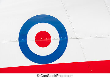 vintage aircraft roundel - riveted fuselage panel on vintage...