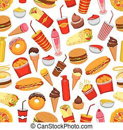 Fast food meal seamless pattern