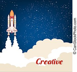 Creative poster with rocket srart launch - Rocket launching...