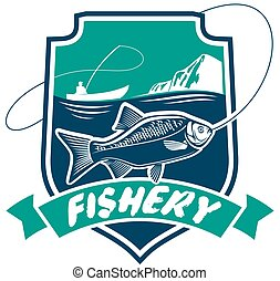Fishery industry vector isolated badge icon - Fishery icon....