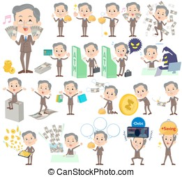 Double suit beard old man money - Set of various poses of...