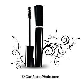 Ink for eyelashes with ornament Vector illustration
