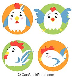 Cute rooster cartoon characters