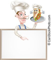 Cartoon Chef Pointing at Kebab Sign - An Illustration of a...
