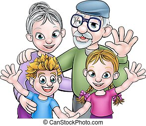 Cartoon Grandparents and Children - Cartoon kids boy and...