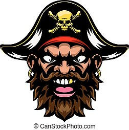 Pirate Mascot - A mean looking cartoon pirate sports mascot