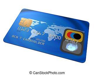 credit card - 3d rendered illustration of a blue credit card