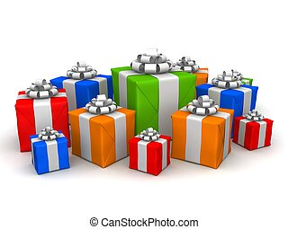 christmas gifts - 3d rendered illustration of many colorful...