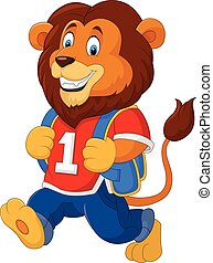 Cute lion with backpack - Vector illustration of Cute lion...