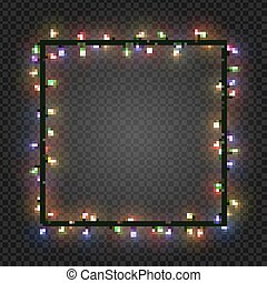Christmas colorful bulbs, garland forming a square, vector....