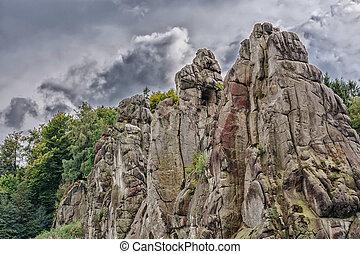 The Externsteine, striking sandstone rock formation in the...